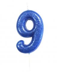 Candelina blu con brillantini numero 9