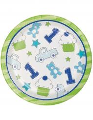 16 Piatti Piccoli in cartone 1° compleanno blu 18 cm