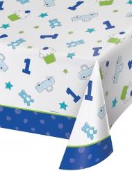 Tovaglia in plastica 1° compleanno blu 137 x 259 cm
