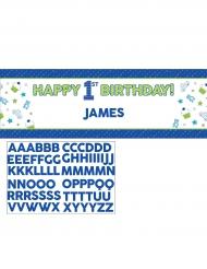 Banner personalizzabile 1° compleanno blu 152 cm