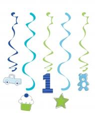 6 Decorazioni da appendere 1° compleanno blu 99 cm