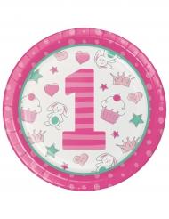 16 Piatti in cartone 1° compleanno rosa 22 cm