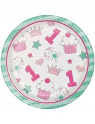 16 Piatti Piccoli in cartone 1° compleanno rosa 18 cm