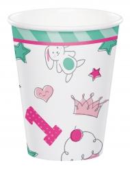 8 Bicchieri in cartone 1° compleanno rosa 266 ml