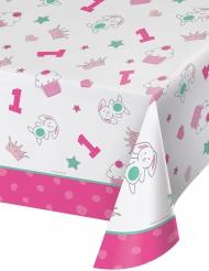 Tovaglia in plastica 1° compleanno rosa 137 x 259 cm