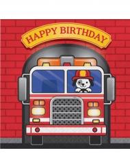 16 tovaglioli di carta Happy Birthday camion dei pompieri