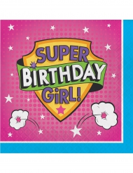 16 tovaglioli di carta Happy Birthday super eroine