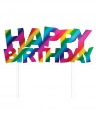 Decorazione per torta arcobaleno Happy Birthday
