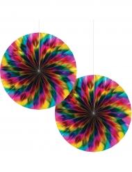 2 rosoni di carta metallizzati arcobaleno