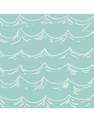 16 tovaglioli di carta onde verde acqua