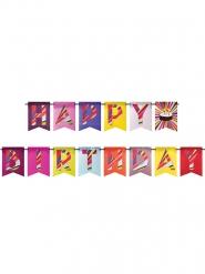 Ghirlanda Happy Birthday multicolor con torta