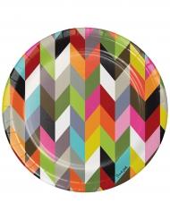 10 piatti in cartone zig zag multicolor 25 cm