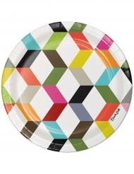 10 piattini in cartone zig zag multicolor 18 cm