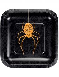 8 piattini in cartone neri ragno arancione 18 cm