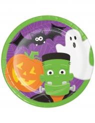 8 piatti in cartone Halloween divertente 23 cm