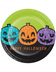 8 piatti in cartone zucche colorate 23 cm