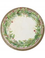 8 piatti in cartone corona di Natale 23 cm