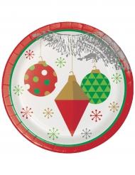 8 piattini di cartone albero di Natale argento 18 cm