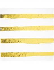 16 tovaglioli di carta a righe oro e bianche