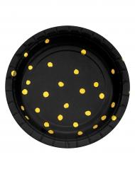 8 piattini in cartone neri con pois oro 18 cm
