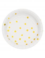 8 piattini in cartone bianchi con pois oro 18 cm