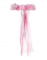 Corona da principessa con fiori rosa per bambina