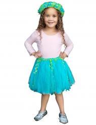 Tutù da sirena blu e verde con corona bambina