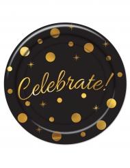 8 piatti di cartone Celebrate nero e oro 23 cm
