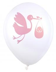 8 palloncini in lattice cicogna Baby shower rosa