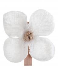 6 mini mollette in legno con fiore bianco