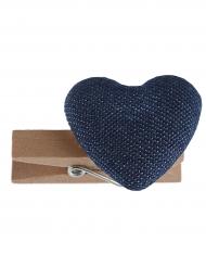 6 mini mollette in legno con cuore blu