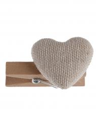 6 mini mollette in legno con cuore naturale
