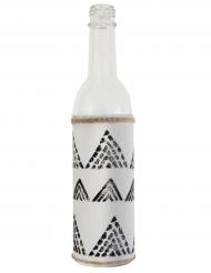 Bottiglia di vetro stile etnico bianca e nera