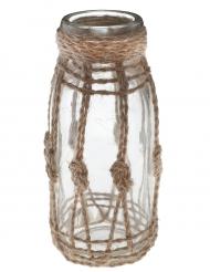 Vaso di vetro con corda in stile marino