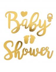 Adesivi di legno Baby Shower oro
