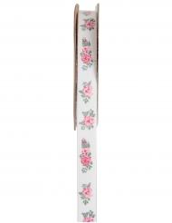 Nastro bianco con fiori rosa
