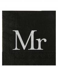 20 tovaglioli di carta neri e bianchi Mr