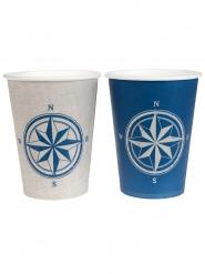 10 bicchieri in cartone bussola beige e blu
