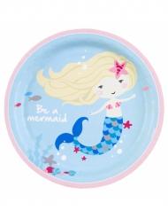 8 piatti di cartone blu sirenetta 23 cm