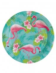 8 piatti in cartone Flamingo Paradise 23 cm