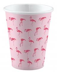 8 bicchieri in cartone rosa con fenicotteri