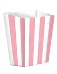 5 scatole pop corn rosa e bianche