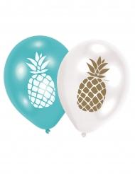 6 palloncini blu e bianchi con ananas oro e bianca