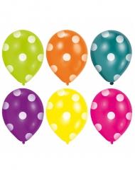 6 palloncini multicolor a pois bianchi