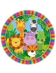 8 piatti in cartone animaletti della giungla 23 cm