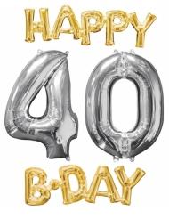 4 palloncini alluminio Happy Bday 40 anni oro e argento