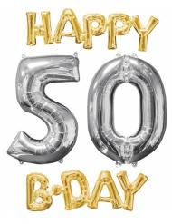 4 palloncini alluminio Happy Bday 50 anni oro e argento