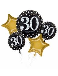 Bouquet 5 palloncini alluminio 30 anni nero e oro