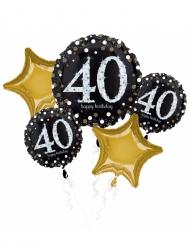 Bouquet 5 palloncini alluminio 40 anni nero e oro