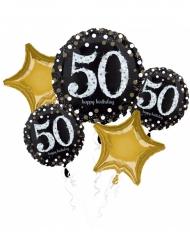 Bouquet 5 palloncini alluminio 50 anni nero e oro